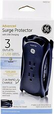 GE 14015 Advanced Travel Surge Protector with USB Charging~Brand New!