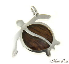 Koa Wood Hawaiian Honu Sea Turtle Rhodium Silver Plated Brass Pendant