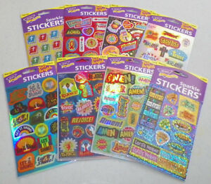 8 Packages Christian Stickers, Bible Study Reward Fun or Scrapbook Activity.