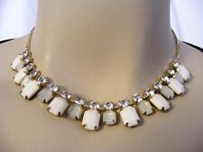 """$22 Carole Beaded Faceted White Rectangle Cabochons Rhinestones Necklace  20"""""""