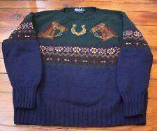VTG Polo Ralph Lauren Horseshoe HorseKnit Sweater L 92 93 Sportsman Country