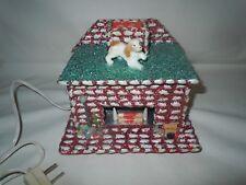 Vtg MCM Sea Shell Folk Art Christmas Electric Fireplace-Celluloid Dog-Japan?