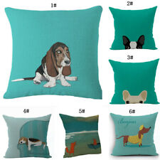 Cotton And Linen Dog Pattern Sofa Living Room Cartoon Pet Cushion Cover New