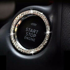 Car Bling Button Start Switch Silver Diamond Rhinestone Ring Decor Accessories