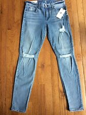 7 For All Mankind Jeans Skinny Light Blue Stonewashed Distressed 29 New $219