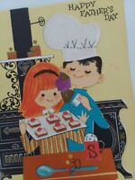 Vtg GIRL & BOY Bake COOKIES Glitter Ribbon FATHER'S DAY GREETING CARD
