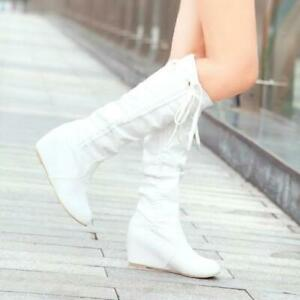 Women's Ladies Wedge Knee High Boots Heel pleated Lace Up Boots SHoes US8 SIZE