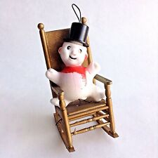 Vintage Kitsch Plastic Snowman Christmas Ornament Holiday Decoration Hong Kong