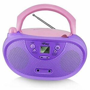 GC04 Portable CD Player Boombox with AM FM Stereo Radio Kids CD Player Violet