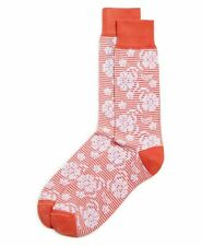 Bloomingdales Mens Store Sock Size 10-13 Striped Floral Dress Socks Coral White