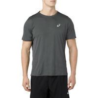 Asics Mens Silver Short Sleeve Top Grey Sports Running Breathable Lightweight