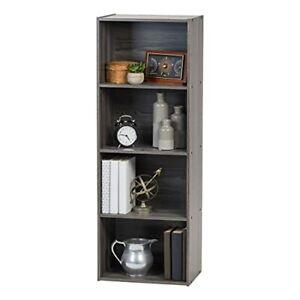 IRIS USA Small Spaces Wood Bookshelf Storage Shelf Bookcase 4-Tier Grey