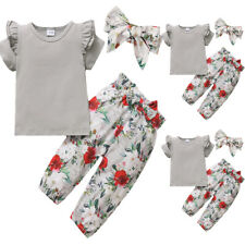 Toddler Girls Outfits Clothes T-shirt Tops + Floral Trousers Headband Set Summer