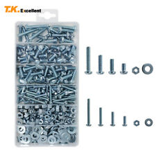 Phillips-Slotted Machine Screws and Hex Nut and Flat Washer Kit,405 Pcs