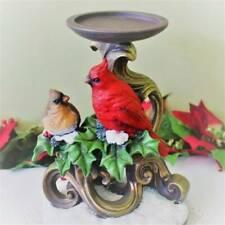Cardinal Bird Pillar Candle Holder Christmas Holly Glitter Snow Ornate