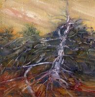 Cape Cod Beach Brambles  6x6 in. Original oil on canvas Hall Groat Sr.