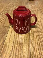 Rae Dunn Christmas By Magenta 'TIS THE SEASON White Stitching Red Teapot VHTF
