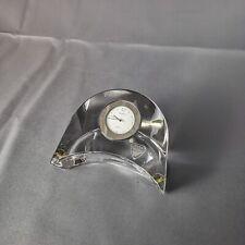More details for orrefors sweden crystal half moon crescent shape table clock