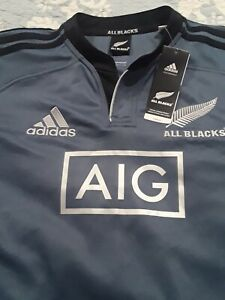 ALL BLACKS AIG Rugby Adidas Climacool Jersey Men's Sz Medium Embroidered NWT