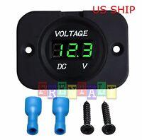 P1 Green LED Digital Waterproof Voltmeter Gauge Meter 12V-24V Car Auto Motorcycl