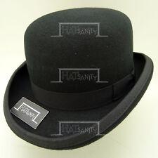 CLASSIC Wool Felt Men Bowler Hat Derby Dura Crown Women FORMAL   61cm   Black