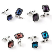 Men French Crystal Rhinestone Wedding Party Dress Shirt Cuff Links Cufflinks
