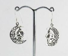 Silver Moon Gazing Hare Celtic Earrings Lisa Parker Sterling Licensed Product