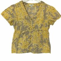 Cato V Neck Empire Waist Boho Shirt Short Sleeve Yellow Brown Print Womens Small