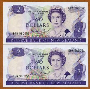 SET New Zealand, 2 x $2, ND (1989-1992), P-170c, QEII, Consecutive Pair, UNC