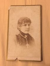 Antique CDV Cabinet Collectible Photo🔸1800s Young Woman Peoria, Il. Photo Clear