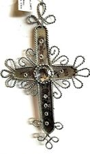 GiftCraft Metal Silver Cross Shiny White Crystal Holiday Christmas Ornament New