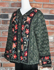 Floral WOOL Lined ICELANDIC DESIGN KNIT Metal Buttons Cardigan Jacket Sweater L