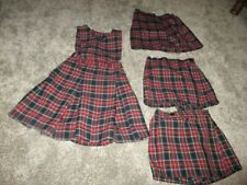 Girls Red Navy Blue Plaid Uniform Jumper & 3 Skirts/Shorts 6