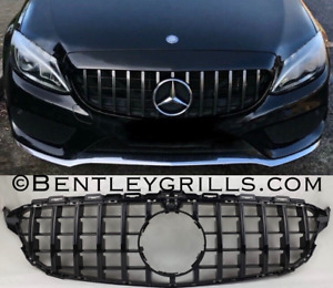 MERCEDES W205 C CLASS AMG GRILL GT PANAMERICANA  FULL BLACK WITH AMG BADGE 14-18