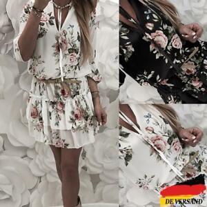 Damen Blumen Skaterkleid V-Ausschnitt Sommerkleid Freizeit Rüsche Tunikakleid