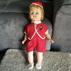 """Vintage Antique 14"""" Baby Girl Doll unbranded Red Outfit and Hat 5T size shoes"""