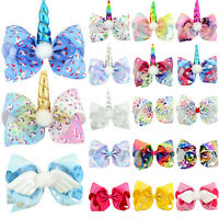 Baby Girls Unicornos Glitter Bow Knot Hair Clip Alligator Hairpin Beauty Cute