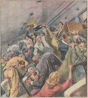 K0851 Violenta lite su un aereo per l'ultima bottiglia di whisky - Stampa antica