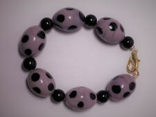 Angel Jewelry Co Handcrafted Lavendar &Black Spotted Glass Bead 6 inch Bracelet