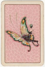 Playing Cards 1 Single Swap Card - Old Vintage FLAPPER GIRL Lady + BUTTERFLY 2