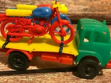 PLASTIC TOY L.R.B MADE IN ITALY ANNI50/60 CAMION CON MOTOCICLETTE