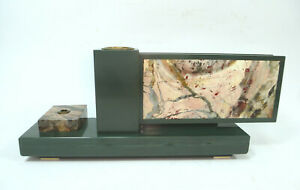 Art Deco Schreibtischaufsatz Pens Holders Semiprecious Stones Marble