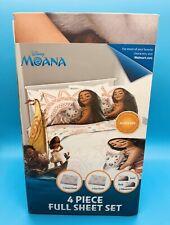 NEW Disney Moana 4 Piece FULL Sheet Set  - SOFT Flat, Fitted & 2 Pillowcases