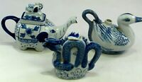 3 Blue & White Elephant Sea Monster Duck Collectable Tea Pot Display Teapot