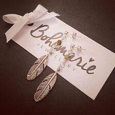 African turquoise feather stud earrings bijoux gypsy jewellery boho good luck