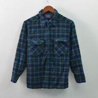 Pendleton Wool Shirt Boyfriend Blue Plaid Button Front USA Womens Medium M