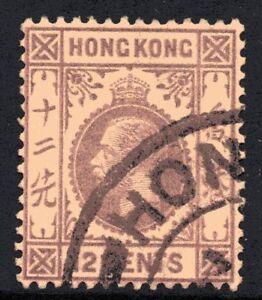 Hong Kong 1912 12c Purple/Yellow King George V Wmk Mult Crown CA Fine Used (2)