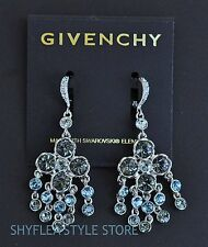 Givenchy Chandelier Earrings Clover Made with Light Blue Swarovski Elements New