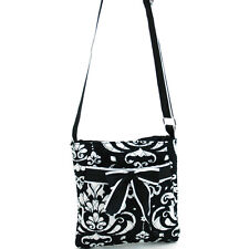 New Womens Handbag Cotton Crossbody Bag Messenger Bag Purse Bow Ribbon BlackTrim