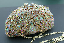Gold Crystal Peacock Clutch Evening Bag - detachable gold chain strap New in box
